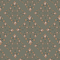 Vector Magical Pumpkin Flowers Earth Tiles seamless pattern background. Perfect for fabric, scrapbooking and wallpaper projects.