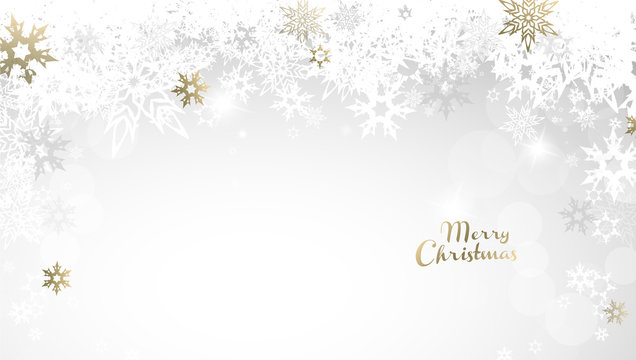 Christmas light vector background illustration with snowflakes and golden Merry Christmas text