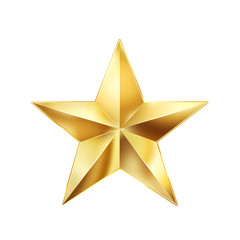 Christmas background, golden star isolated on white background