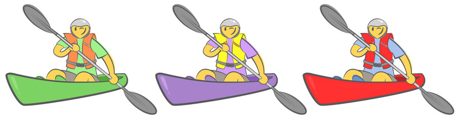 Cheerful guy sitting in kayak and holding paddle. Man paddling a kayak. Concept for adventure, travel, action. Active summer recreation. Hand drawn cartoon doodle vector illustration. Three colors.