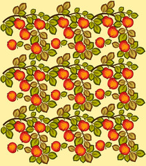 Beautiful seamless background of red apples on branches