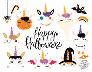 Poster Illustrations Halloween set with cute unicorns, pumpkin, ghost, witch, vampire, zombie, Frankenstein, devil. Isolated objects. Hand drawn vector illustration. Flat style design Concept for children print party