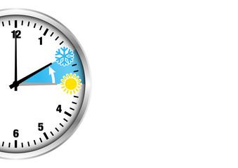 Winterzeit halbe Uhr Zahlen Anschnitt silber