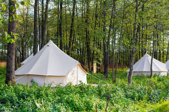 Group of glamping bell tents