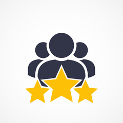 Customer Satisfaction Icon On White. Achievement, grade, ranking, star, user team icon. Client rating, executive, star user team icon - Vector