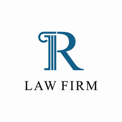 Initial R for law firm Logo design template