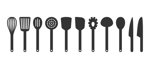 Obraz Cooking utensil set of tools. Kitchen tools black isolated vector icons. Slotted turner, spoon, knives, whisk, pasta server icons. - fototapety do salonu