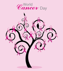 World cancer day card. Tree with pink bows
