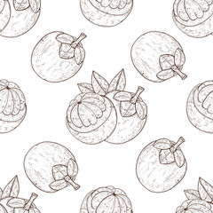 Mangosteen. Tropical Fruit. Background, wallpaper, seamless. Texture. Sketch. Monochrome. White background.