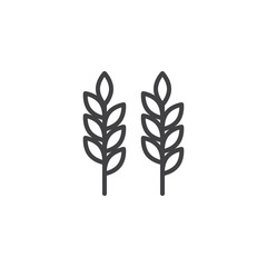 Ears of wheat outline icon. linear style sign for mobile concept and web design. Agriculture wheat simple line vector icon. Symbol, logo illustration. Pixel perfect vector graphics