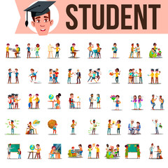 Student Set Vector. Lifestyle Situations. Spending Time, At College, University, Campus, School, Home, Outdoor. Isolated Cartoon Illustration