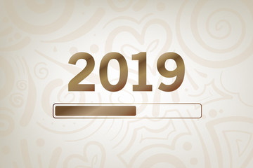 2019 goldener Ladebalken mit Ornament