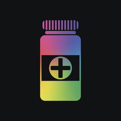 Bank of pills icon. Rainbow color and dark background