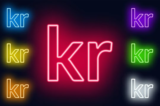 Neon Krone sign in various color options on a dark background .