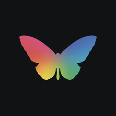 butterfly icon. Rainbow color and dark background