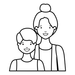 mother with her son smiling avatar character