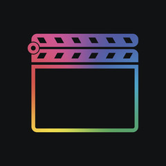 Film clap board cinema close icon. Rainbow color and dark backgr