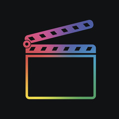 Film clap board cinema open icon. Rainbow color and dark backgro