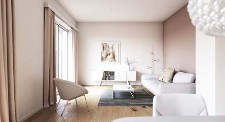Blick in Wohnzimmer in einem Neubau Apartment - view inside a living room with sofa