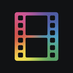 movie strip. simple silhouette. Rainbow color and dark backgroun