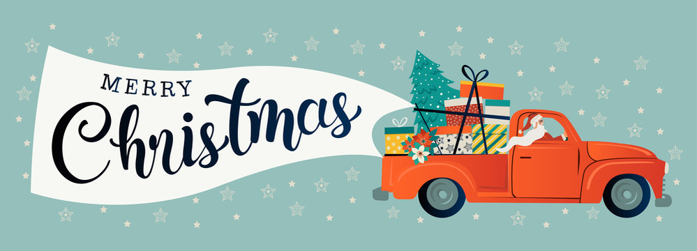 Merry christmas stylized typography. Vintage red car with santa claus, christmas tree and gift boxes. Vector flat style illustration.