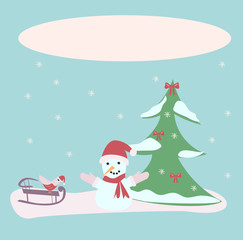 snowman and bird on a sled on a blue background, a Christmas tree in the snow, vector illustration