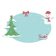 snowman and sled on a blue background, green tree, vector illustration