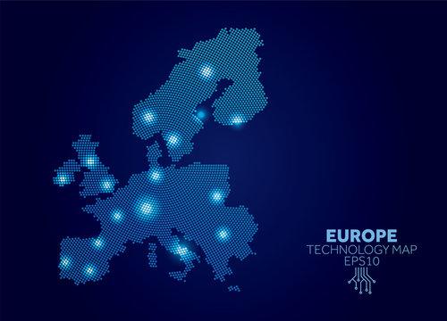 Europe dotted technology map. Modern data communication concept