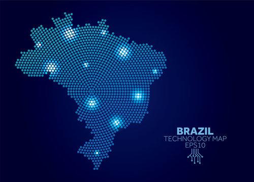 Brazil dotted technology map. Modern data communication concept