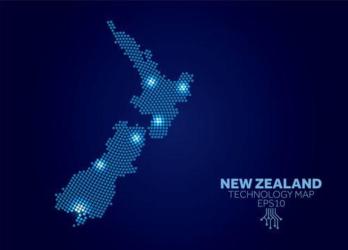 New Zealand dotted technology map. Modern data communication concept