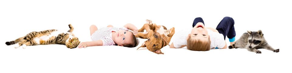 Group of cute children and pets, isolated on white background