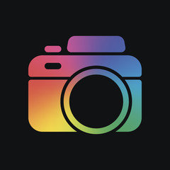 Photo camera, simple icon. Rainbow color and dark background