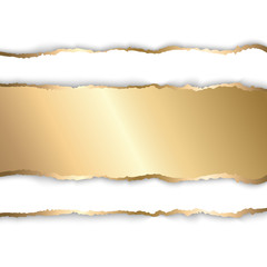 Gold and white torn paper. Template background