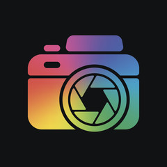 Photo camera with shutter, simple icon. Rainbow color and dark background