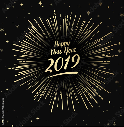 happy 2019 new year card with gold firework