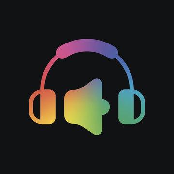 Headphones and volume level. Max volume level. Simple icon. Rainbow color and dark background