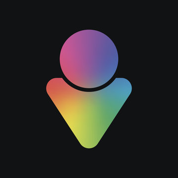 Simple male symbol. Man icon. Rainbow color and dark background
