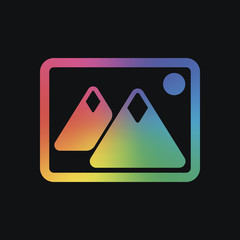 Picture with couple of mountains and sun. Simple icon. Rainbow color and dark background