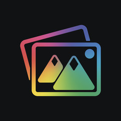 Stack of pictures with couple of mountains and sun. Simple icon. Rainbow color and dark background