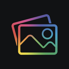 Stack of pictures with couple of mountains and sun. Simple linear icon. Rainbow color and dark background