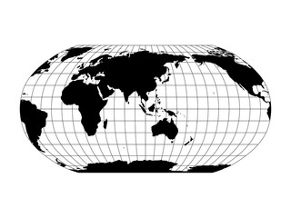 Wall Mural - World Map in Robinson Projection with meridians and parallels grid. Asia and Australia centered. Black land with black outline. Vector illustration.
