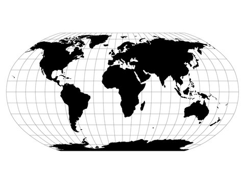 World Map in Robinson Projection with meridians and parallels grid. Black land with black outline. Vector illustration.