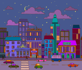vector hand-drawn evening city landscape