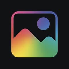 Simple picture icon. Rainbow color and dark background