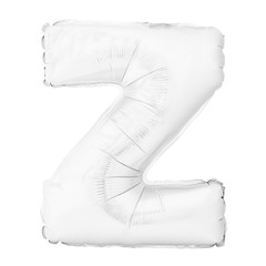 White letter Z made of inflatable helium balloon isolated on white
