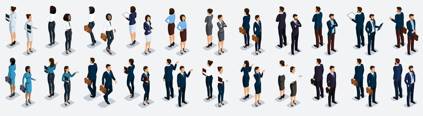 Isometric large set of businessmen and business woman, front view and rear view, vector illustration Wall mural