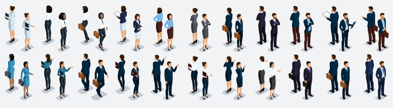 Isometric large set of businessmen and business woman, front view and rear view, vector illustration