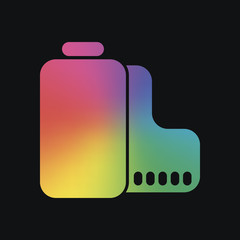 Camera roll icon. Photo or video strip. Rainbow color and dark background