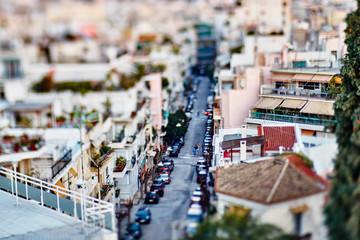 Panoramic tilt-shift city Athens