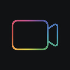Video camera icon. Linear, thin outline. Rainbow color and dark background